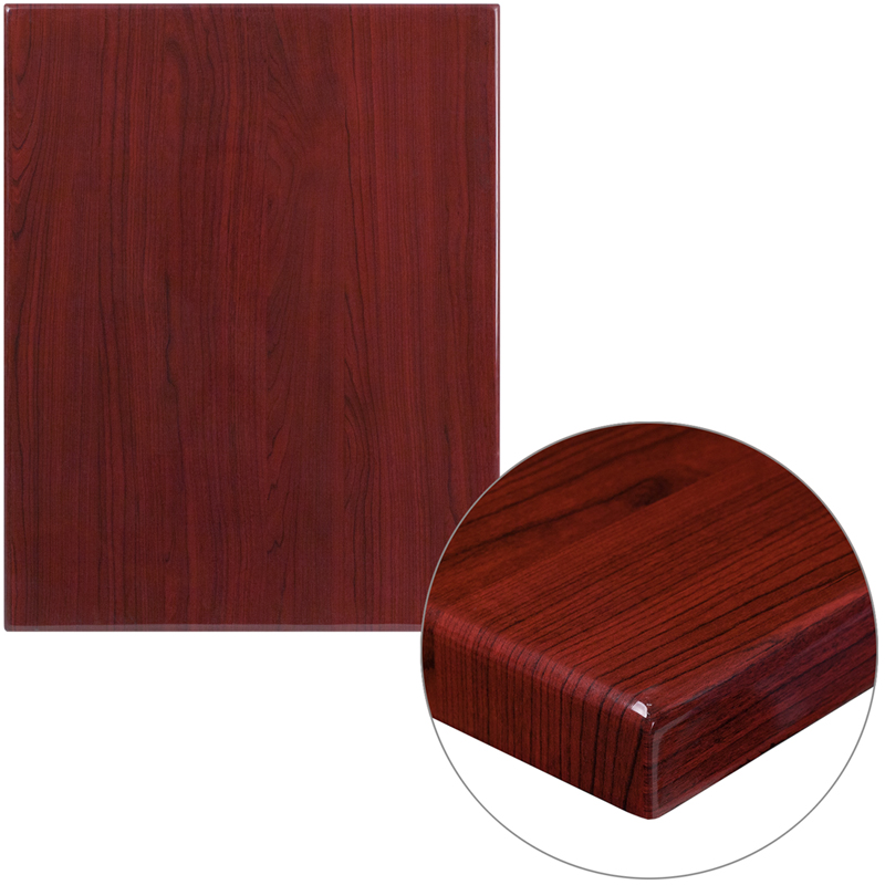ERGONOMIC HOME 24'' x 30'' Rectangular Resin Mahogany Table Top