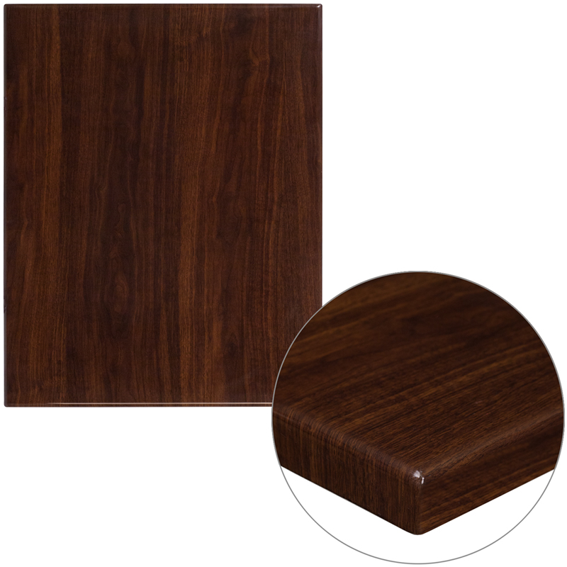 ERGONOMIC HOME 24'' x 30'' Rectangular Resin Walnut Table Top
