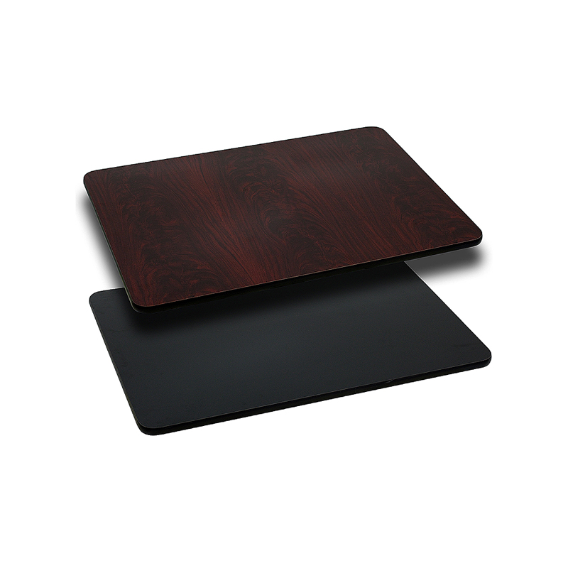ERGONOMIC HOME 24'' x 30'' Rectangular Table Top with Black or Mahogany Reversible Laminate Top