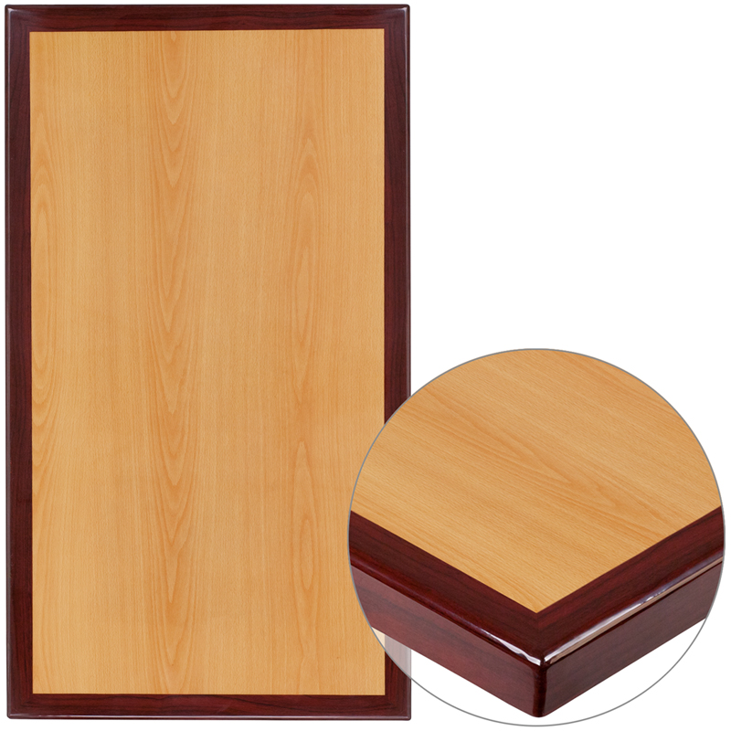 ERGONOMIC HOME 24'' x 30'' Rectangular Two-Tone Resin Cherry and Mahogany Table Top