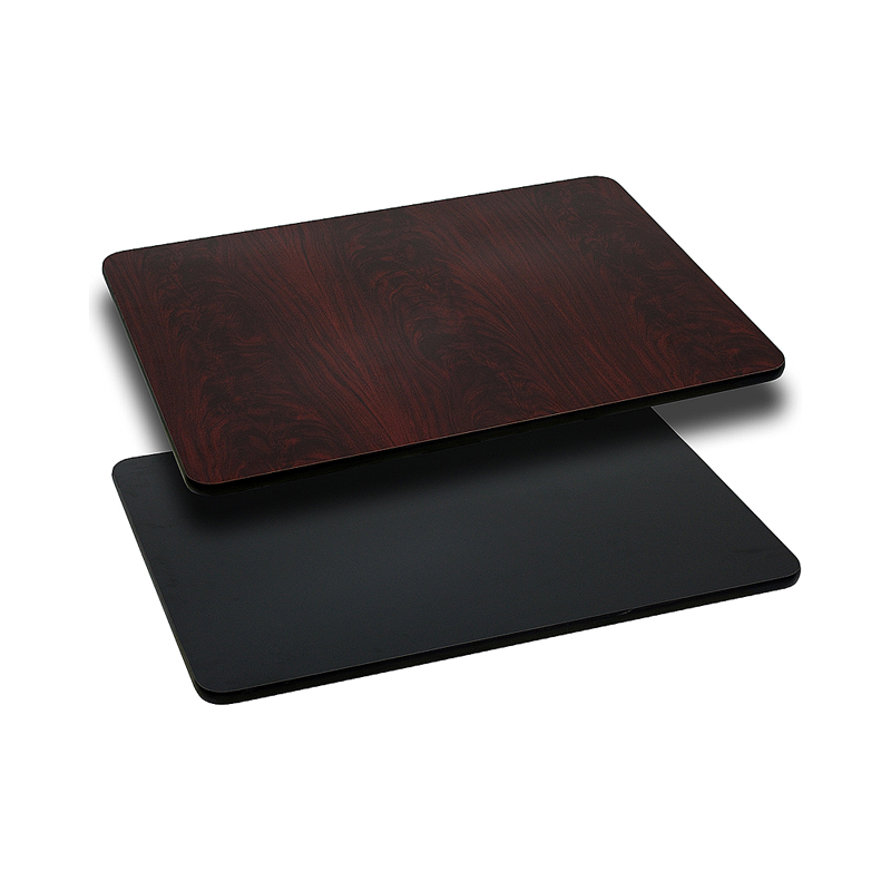ERGONOMIC HOME 24'' x 42'' Rectangular Table Top with Black or Mahogany Reversible Laminate Top