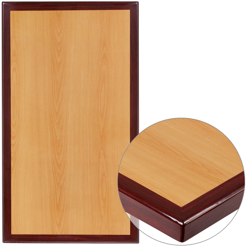 ERGONOMIC HOME 24'' x 42'' Rectangular Two-Tone Resin Cherry and Mahogany Table Top