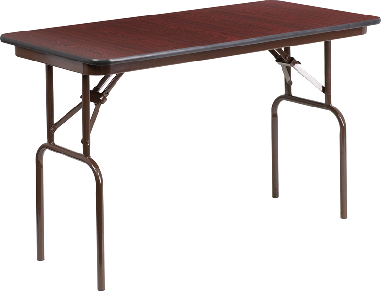 ERGONOMIC HOME 24'' x 48'' Rectangular Mahogany Melamine Laminate Folding Banquet Table