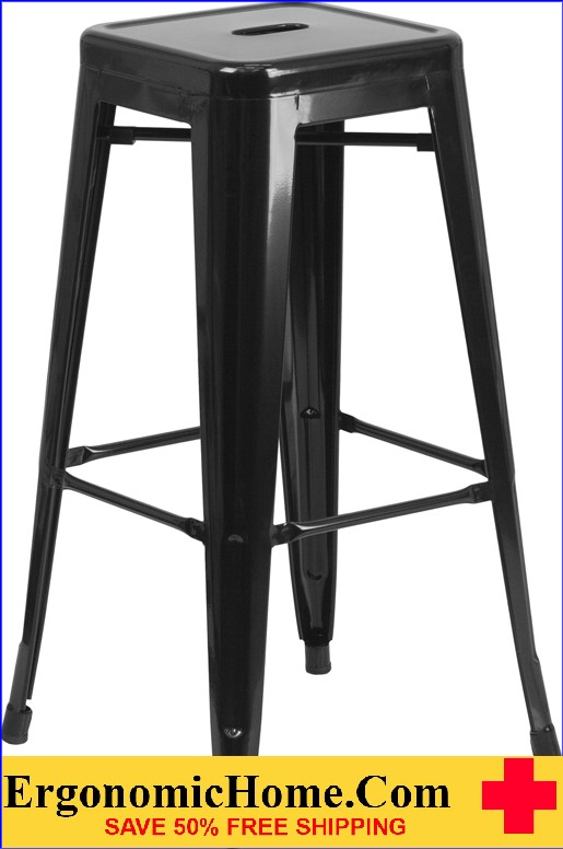 ERGONOMIC HOME 30'' High Backless Black Metal Indoor-Outdoor Barstool with Square Seat  | <b><font color=green>50% Off Read More Below...</font></b>