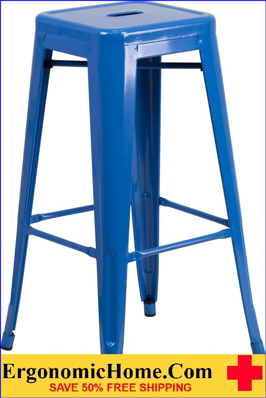 ERGONOMIC HOME 30'' High Backless Blue Metal Indoor-Outdoor Barstool with Square Seat  | <b><font color=green>50% Off Read More Below...</font></b>