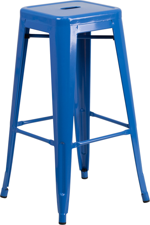 ERGONOMIC HOME 30'' High Backless Blue Metal Indoor-Outdoor Barstool with Square Seat