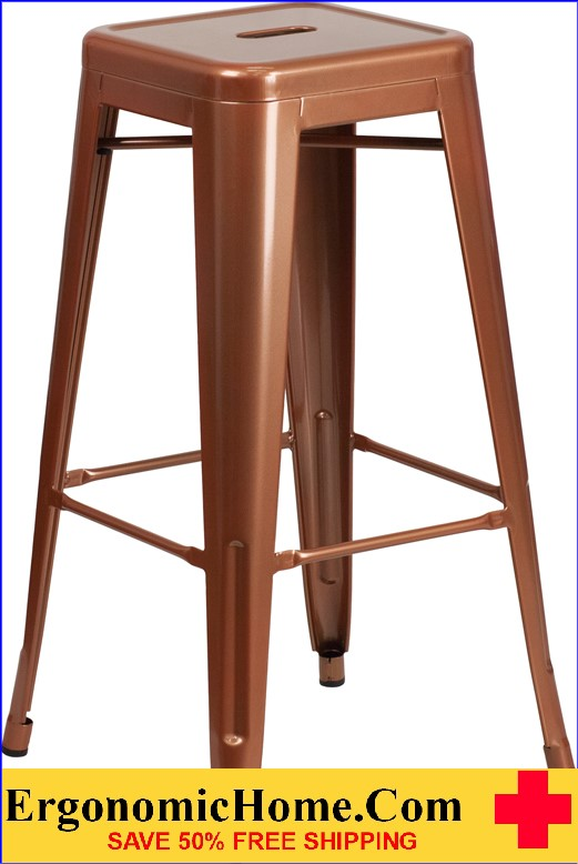ERGONOMIC HOME 30'' High Backless Copper Indoor-Outdoor Barstool <b><font color=green>50% Off Read More Below...</font></b>