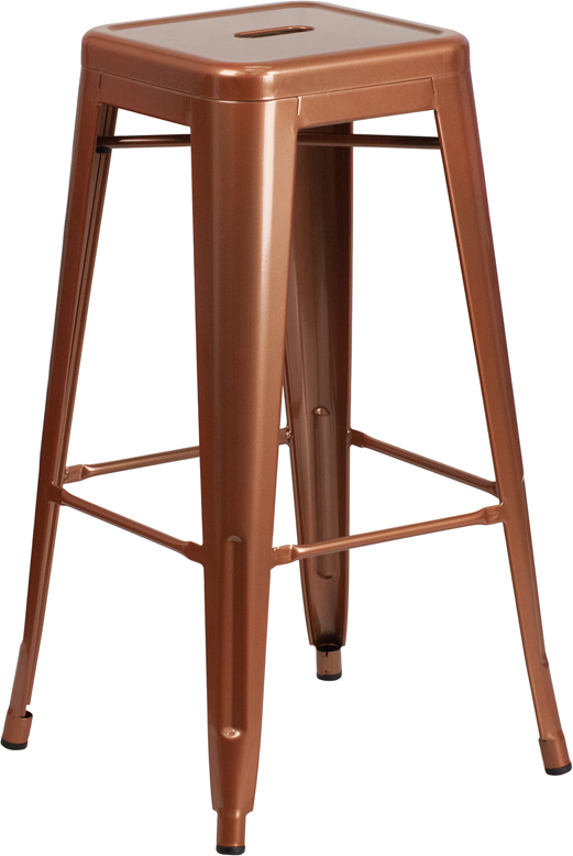 ERGONOMIC HOME 30'' High Backless Copper Indoor-Outdoor Barstool