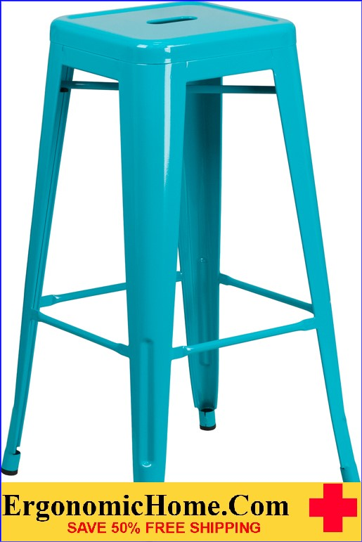 ERGONOMIC HOME 30'' High Backless Crystal Blue Indoor-Outdoor Barstool <b><font color=green>50% Off Read More Below...</font></b>