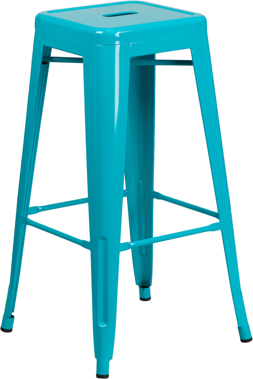 ERGONOMIC HOME 30'' High Backless Crystal Blue Indoor-Outdoor Barstool