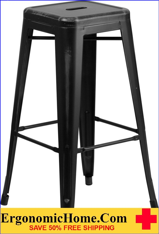 ERGONOMIC HOME 30'' High Backless Distressed Black Metal Indoor-Outdoor Barstool <b><font color=green>50% Off Read More Below...</font></b>