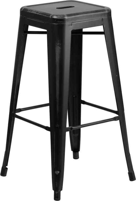 ERGONOMIC HOME 30'' High Backless Distressed Black Metal Indoor-Outdoor Barstool