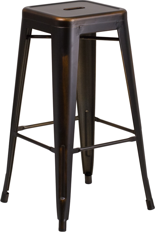 ERGONOMIC HOME 30'' High Backless Distressed Copper Metal Indoor-Outdoor Barstool
