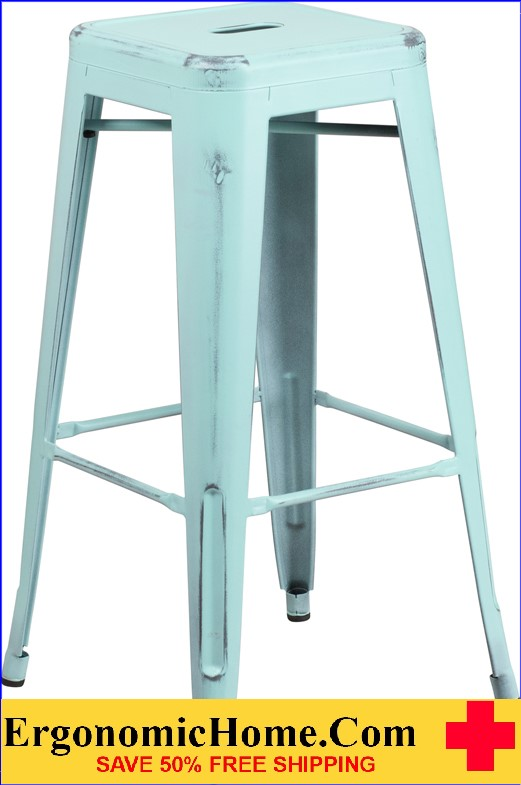 ERGONOMIC HOME 30'' High Backless Distressed Dream Blue Metal Indoor-Outdoor Barstool <b><font color=green>50% Off Read More Below...</font></b>