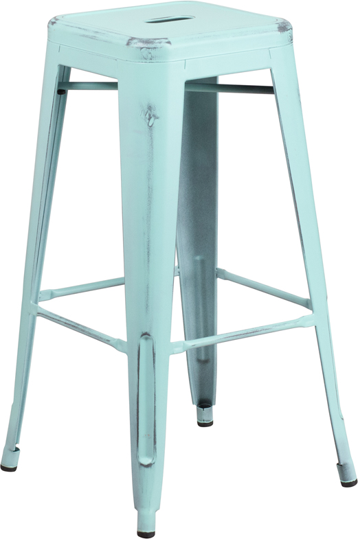 ERGONOMIC HOME 30'' High Backless Distressed Dream Blue Metal Indoor-Outdoor Barstool