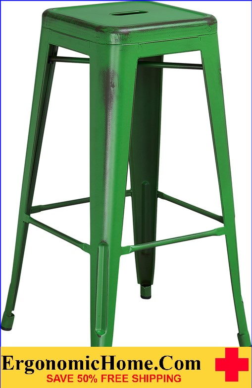 ERGONOMIC HOME 30'' High Backless Distressed Green Metal Indoor-Outdoor Barstool <b><font color=green>50% Off Read More Below...</font></b>