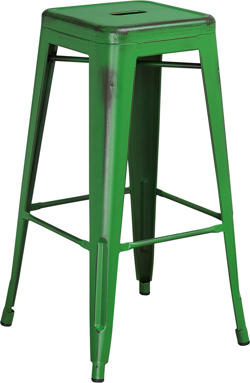 ERGONOMIC HOME 30'' High Backless Distressed Green Metal Indoor-Outdoor Barstool