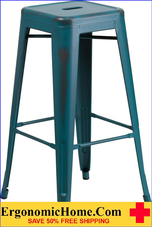 ERGONOMIC HOME 30'' High Backless Distressed Kelly Blue Metal Indoor-Outdoor Barstool <b><font color=green>50% Off Read More Below...</font></b>