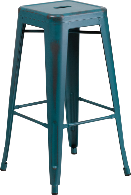 ERGONOMIC HOME 30'' High Backless Distressed Kelly Blue Metal Indoor-Outdoor Barstool