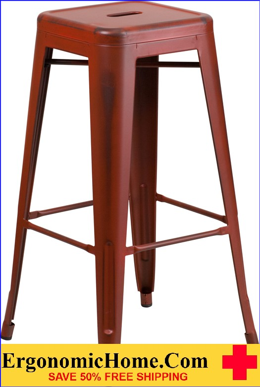 ERGONOMIC HOME 30'' High Backless Distressed Kelly Red Metal Indoor-Outdoor Barstool <b><font color=green>50% Off Read More Below...</font></b></font></b>
