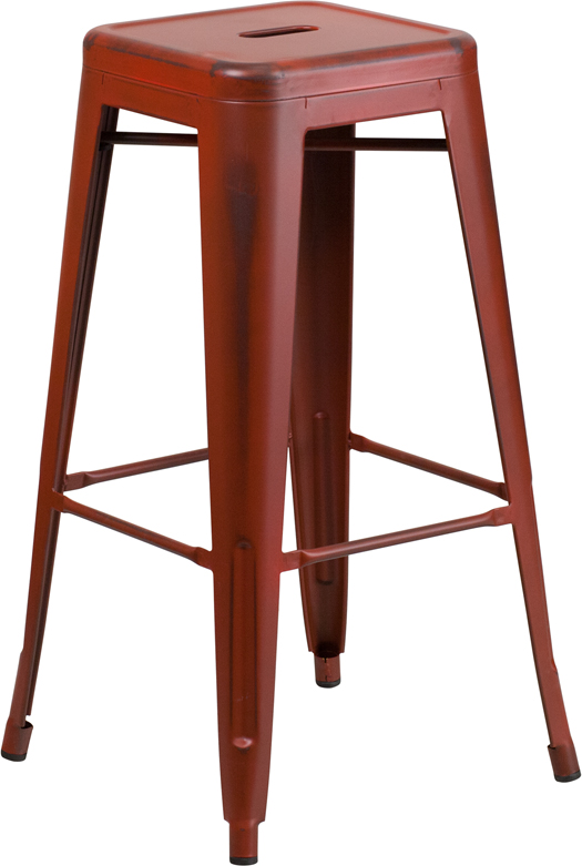 ERGONOMIC HOME 30'' High Backless Distressed Kelly Red Metal Indoor-Outdoor Barstool