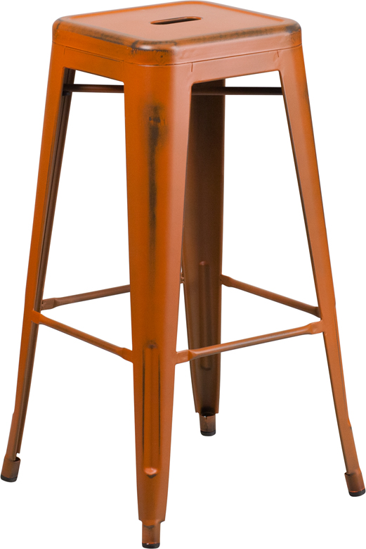 ERGONOMIC HOME 30'' High Backless Distressed Orange Metal Indoor-Outdoor Barstool