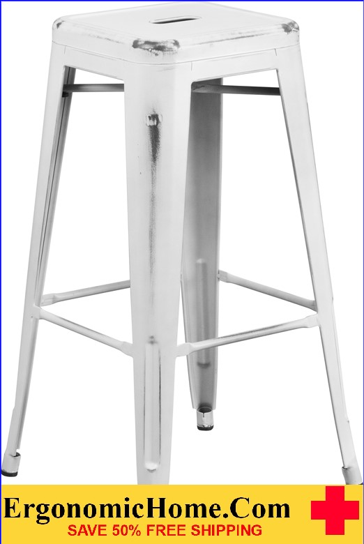 ERGONOMIC HOME 30'' High Backless Distressed White Metal Indoor-Outdoor Barstool <b><font color=green>50% Off Read More Below...</font></b></font></b>