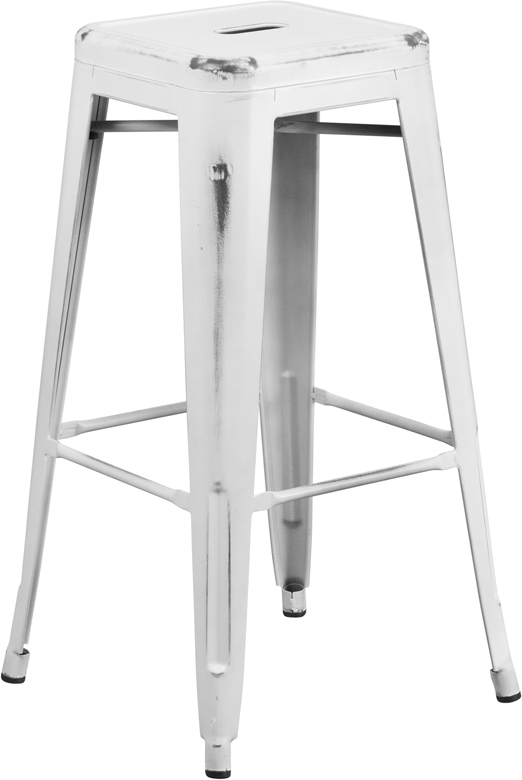 ERGONOMIC HOME 30'' High Backless Distressed White Metal Indoor-Outdoor Barstool