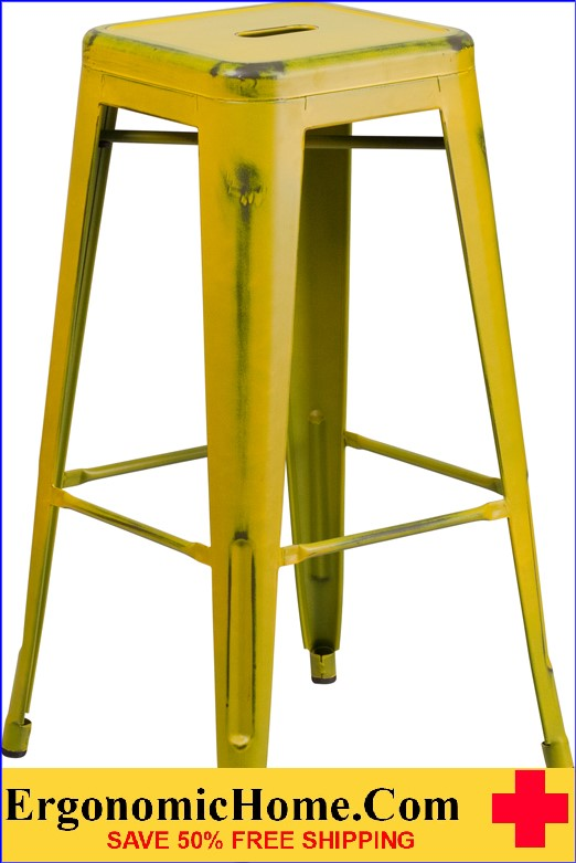 ERGONOMIC HOME 30'' High Backless Distressed Yellow Metal Indoor-Outdoor Barstool <b><font color=green>50% Off Read More Below...</font></b></font></b>