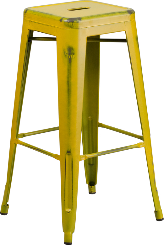 ERGONOMIC HOME 30'' High Backless Distressed Yellow Metal Indoor-Outdoor Barstool