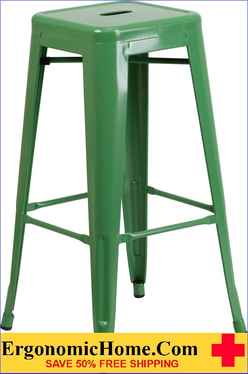 ERGONOMIC HOME 30'' High Backless Green Metal Indoor-Outdoor Barstool with Square Seat  | <b><font color=green>50% Off Read More Below...</font></b>