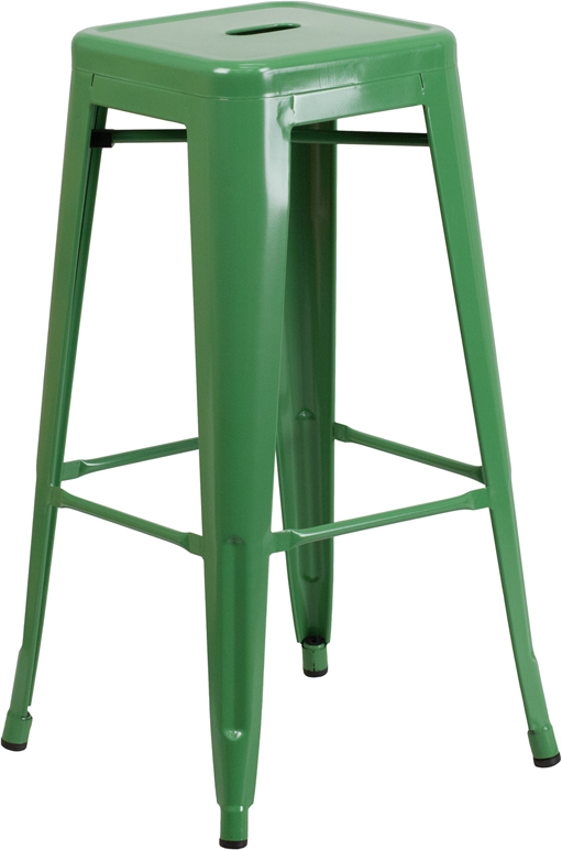 ERGONOMIC HOME 30'' High Backless Green Metal Indoor-Outdoor Barstool with Square Seat