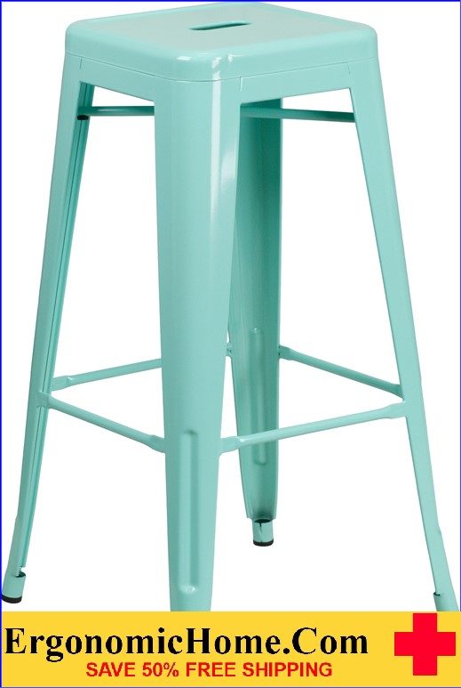 ERGONOMIC HOME 30'' High Backless Mint Green Indoor-Outdoor Barstool <b><font color=green>50% Off Read More Below...</font></b>
