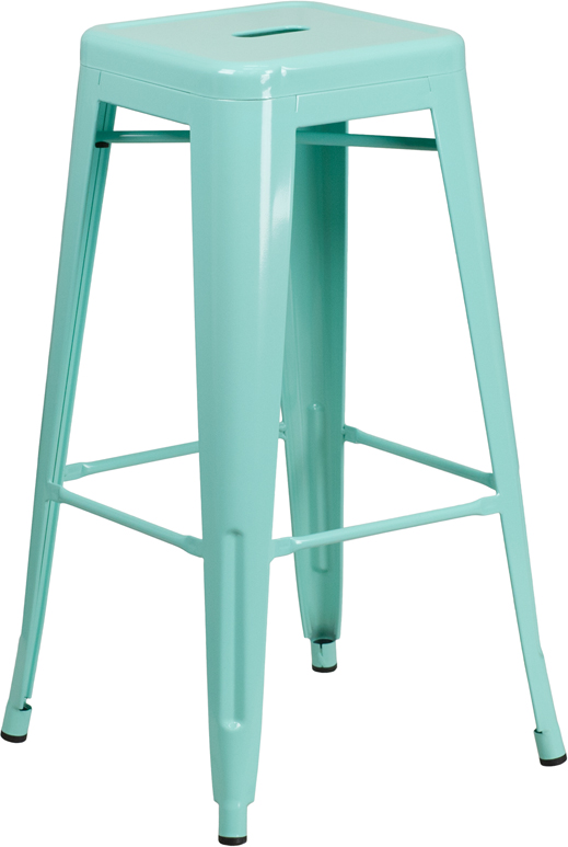 ERGONOMIC HOME 30'' High Backless Mint Green Indoor-Outdoor Barstool