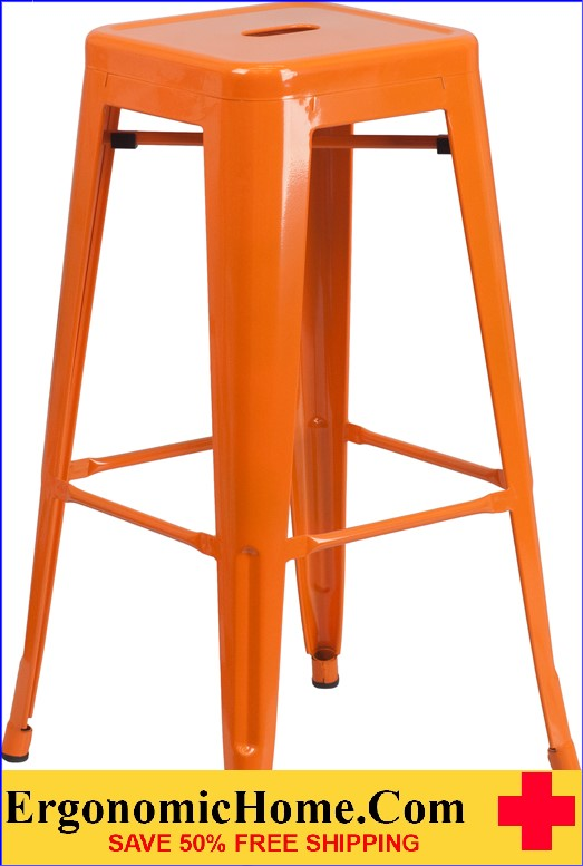 ERGONOMIC HOME 30'' High Backless Orange Metal Indoor-Outdoor Barstool with Square Seat  | <b><font color=green>50% Off Read More Below...</font></b>