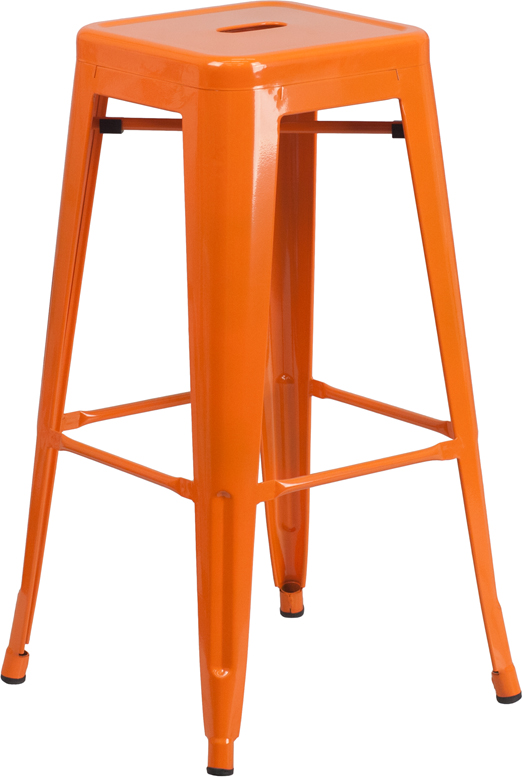 ERGONOMIC HOME 30'' High Backless Orange Metal Indoor-Outdoor Barstool with Square Seat