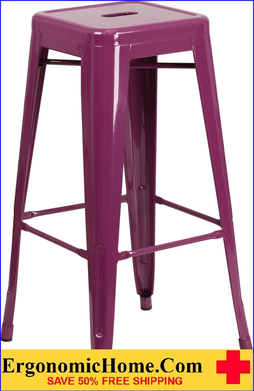 ERGONOMIC HOME 30'' High Backless Purple Indoor-Outdoor Barstool <b><font color=green>50% Off Read More Below...</font></b>