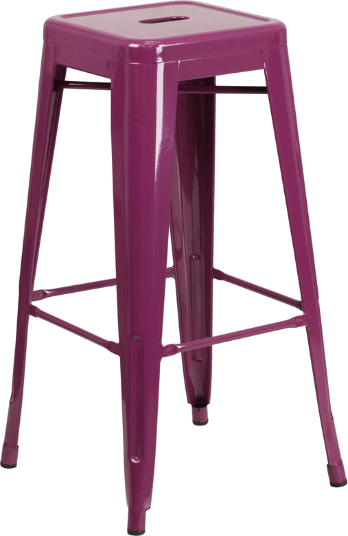 ERGONOMIC HOME 30'' High Backless Purple Indoor-Outdoor Barstool