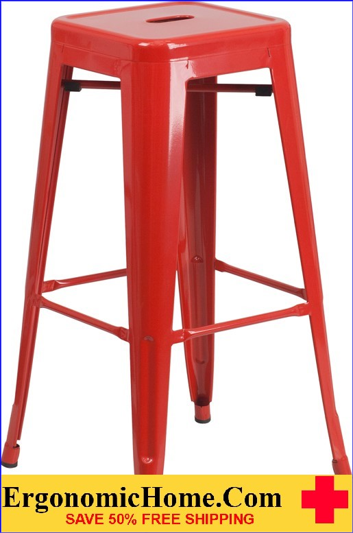 ERGONOMIC HOME 30'' High Backless Red Metal Indoor-Outdoor Barstool with Square Seat  | <b><font color=green>50% Off Read More Below...</font></b>