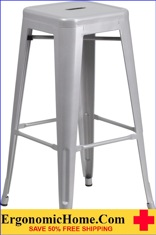 ERGONOMIC HOME 30'' High Backless Silver Metal Indoor-Outdoor Barstool with Square Seat  | <b><font color=green>50% Off Read More Below...</font></b>