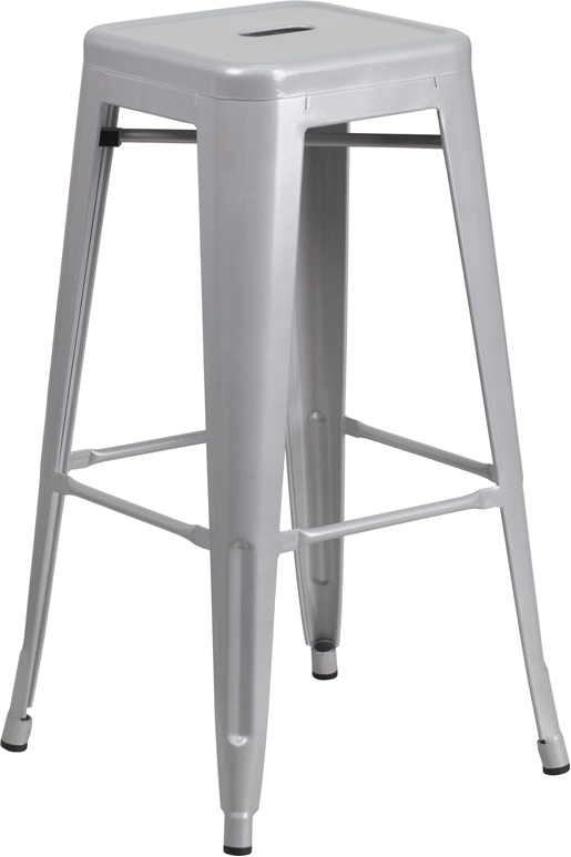 ERGONOMIC HOME 30'' High Backless Silver Metal Indoor-Outdoor Barstool with Square Seat