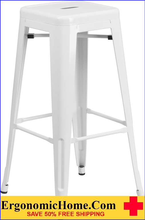 ERGONOMIC HOME 30'' High Backless White Metal Indoor-Outdoor Barstool with Square Seat  | <b><font color=green>50% Off Read More Below...</font></b>