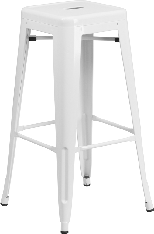 ERGONOMIC HOME 30'' High Backless White Metal Indoor-Outdoor Barstool with Square Seat