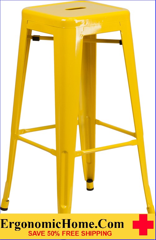 ERGONOMIC HOME 30'' High Backless Yellow Metal Indoor-Outdoor Barstool with Square Seat|<b><font color=green>50% Off Read More Below...</font></b></font></b>