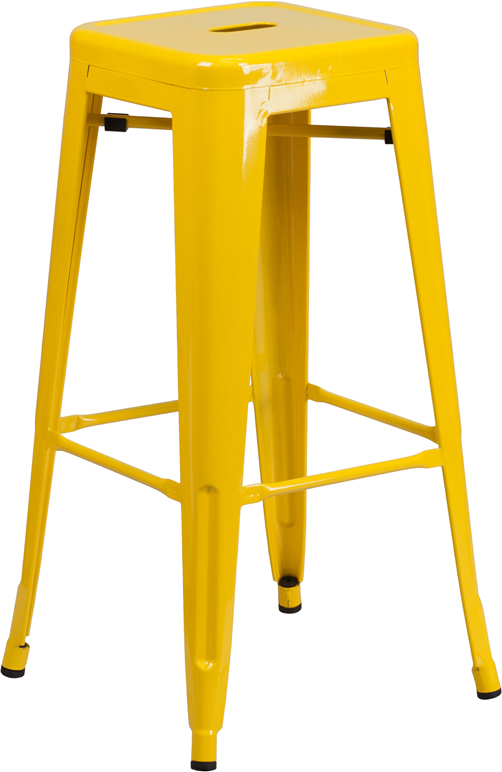 ERGONOMIC HOME 30'' High Backless Yellow Metal Indoor-Outdoor Barstool with Square Seat