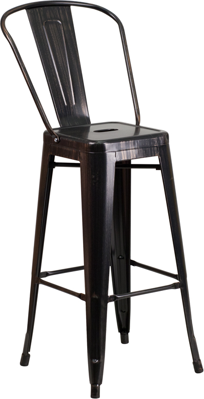 ERGONOMIC HOME 30'' High Black-Antique Gold Metal Indoor-Outdoor Barstool with Back