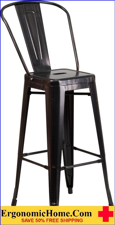 ERGONOMIC HOME 30'' High Black-Antique Gold Metal Indoor-Outdoor Barstool with Back  | <b><font color=green>50% Off Read More Below...</font></b>