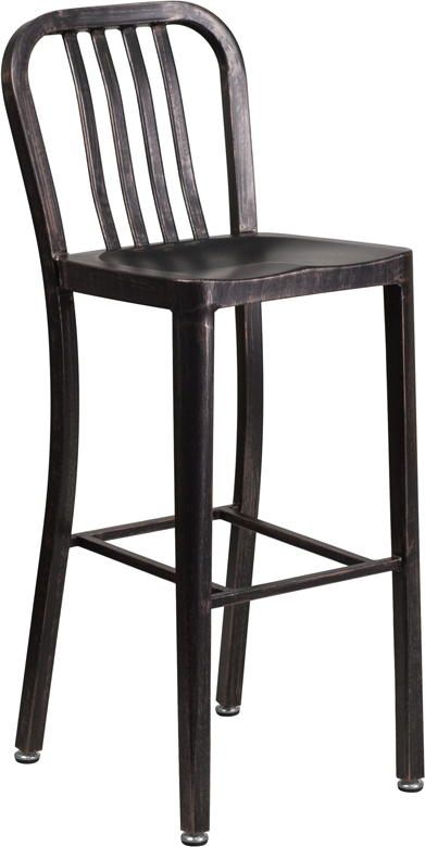 ERGONOMIC HOME 30'' High Black-Antique Gold Metal Indoor-Outdoor Barstool with Vertical Slat Back