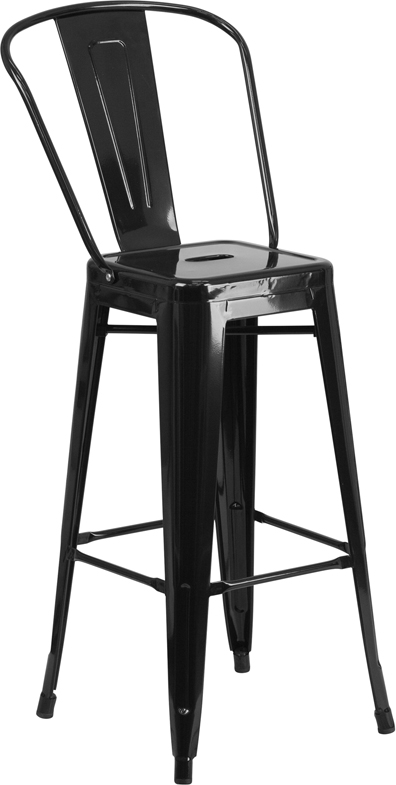 ERGONOMIC HOME 30'' High Black Metal Indoor-Outdoor Barstool with Back
