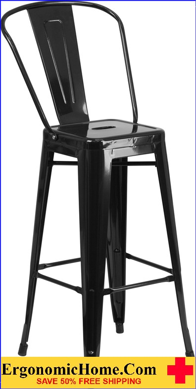 ERGONOMIC HOME 30'' High Black Metal Indoor-Outdoor Barstool with Back  | <b><font color=green>50% Off Read More Below...</font></b>